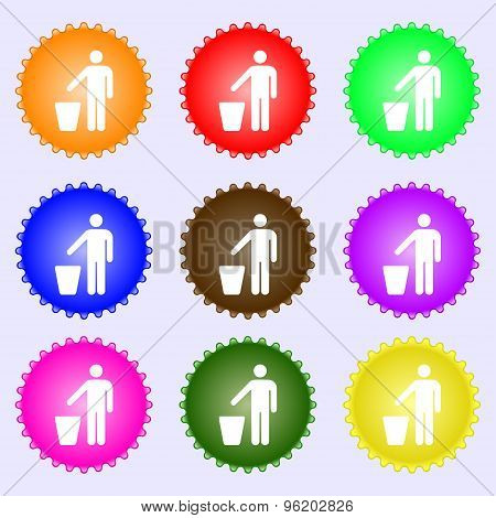 Throw Away The Trash Icon Sign. A Set Of Nine Different Colored Labels. Vector