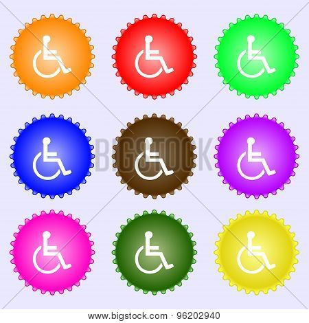 Disabled Icon Sign. A Set Of Nine Different Colored Labels. Vector