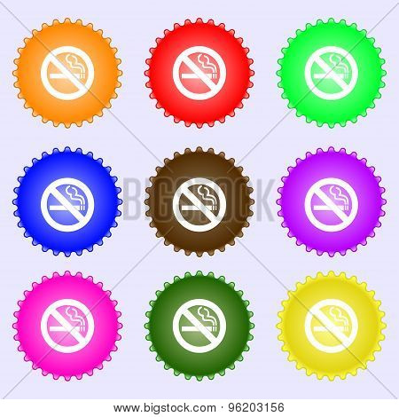 No Smoking Icon Sign. A Set Of Nine Different Colored Labels. Vector