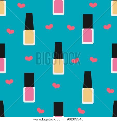 Nail Lacquer Or Nail Polish Seamless Pattern