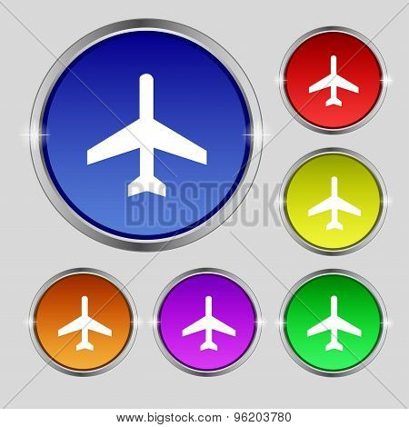 Airplane Icon Sign. Round Symbol On Bright Colourful Buttons. Vector