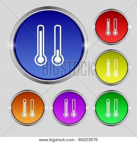 Thermometer Temperature Icon Sign. Round Symbol On Bright Colourful Buttons. Vector