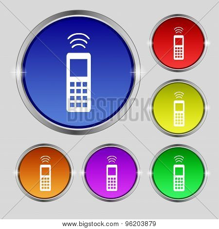 The Remote Control Icon Sign. Round Symbol On Bright Colourful Buttons. Vector