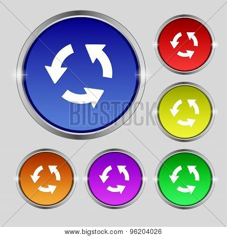 Refresh Icon Sign. Round Symbol On Bright Colourful Buttons. Vector