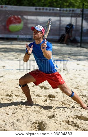 MOSCOW, RUSSIA - JULY 15, 2015: Michael McBride of Great Britain in action during the ITF Beach Tennis World Team Championship. 28 nations compete in the event this year
