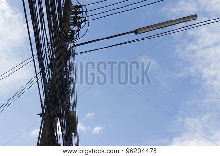 Electric Pole On The Blue Sky