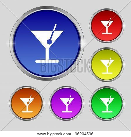 Cocktail Icon Sign. Round Symbol On Bright Colourful Buttons. Vector