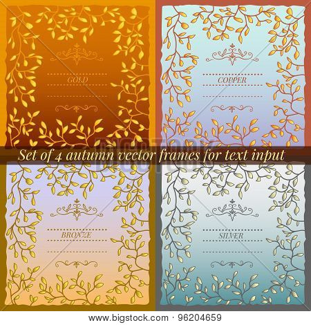 Set of 4 autumn vector frames for text input