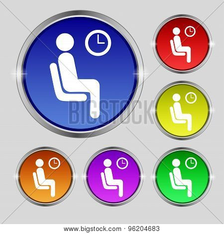 Waiting Icon Sign. Round Symbol On Bright Colourful Buttons. Vector