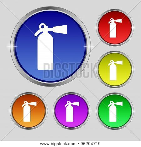 Extinguisher Icon Sign. Round Symbol On Bright Colourful Buttons. Vector