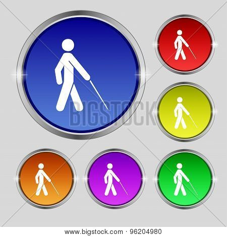 Blind Icon Sign. Round Symbol On Bright Colourful Buttons. Vector