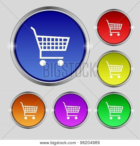 Shopping Cart Icon Sign. Round Symbol On Bright Colourful Buttons. Vector