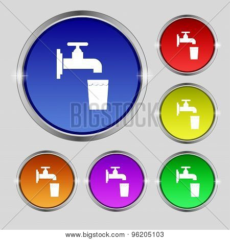 Faucet, Glass, Water Icon Sign. Round Symbol On Bright Colourful Buttons. Vector