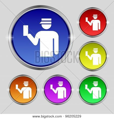 Inspector Icon Sign. Round Symbol On Bright Colourful Buttons. Vector