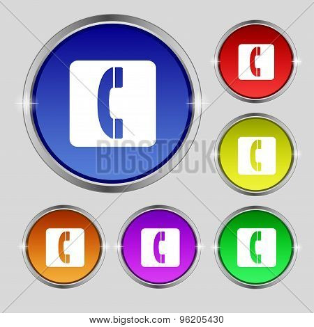 Handset Icon Sign. Round Symbol On Bright Colourful Buttons. Vector