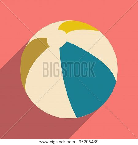 Flat with shadow icon and mobile application beach ball