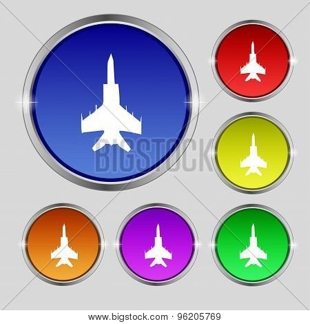 Fighter Icon Sign. Round Symbol On Bright Colourful Buttons. Vector