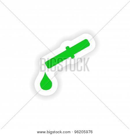 icon sticker realistic design on paper drop counter