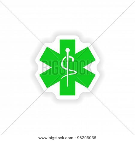 icon sticker realistic design on paper medical emblem