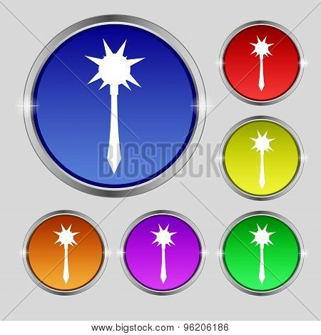 Mace Icon Sign. Round Symbol On Bright Colourful Buttons. Vector