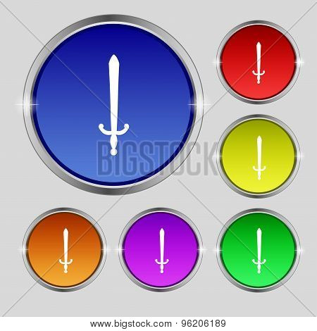 The Sword Icon Sign. Round Symbol On Bright Colourful Buttons. Vector