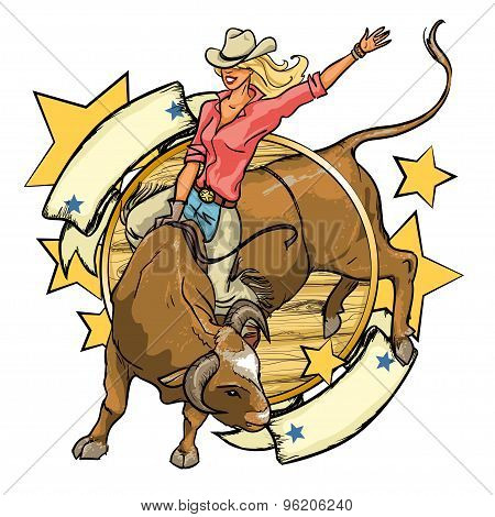 Rodeo Cowgirl riding a bull, label design with space for text
