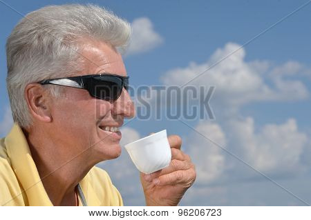 Senior man on  background of  sky