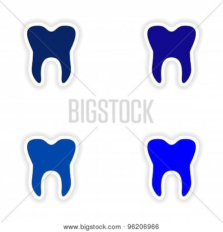 assembly realistic sticker design on paper logo teeth