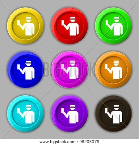 Inspector Icon Sign. Symbol On Nine Round Colourful Buttons. Vector