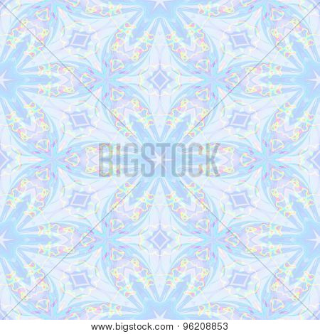 Seamless Abstract Soft Blue Flower Pattern For Background With Oil Blotch