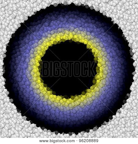 Lilac Bird Or Alien Eye With Yellow Ring Around The Pupil  Isolated On The White Background Made Of
