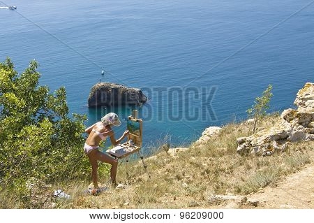 Girl Painting Sea