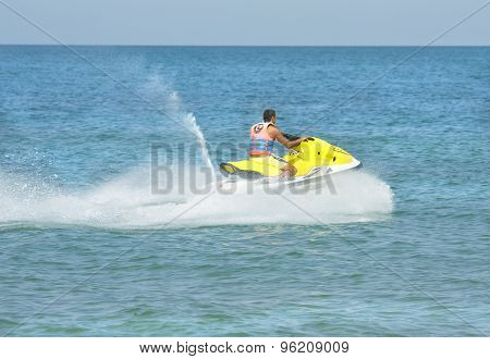 Man On Moto Boat
