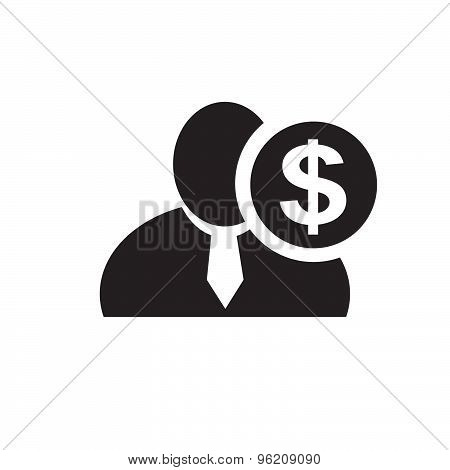 Black Man Silhouette Icon With Dollar Symbol In An Information Circle, Flat Design Icon For Forums O