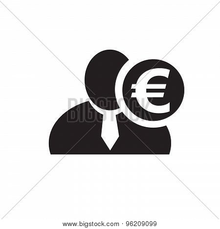 Black Man Silhouette Icon With Euro Symbol In An Information Circle, Flat Design Icon For Forums Or