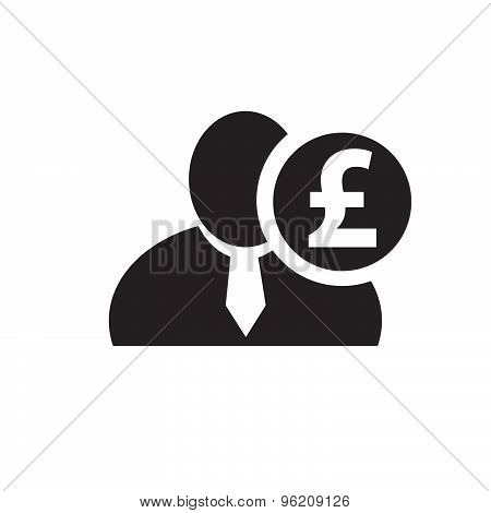 Black Man Silhouette Icon With British Pound Symbol In An Information Circle, Flat Design Icon For F
