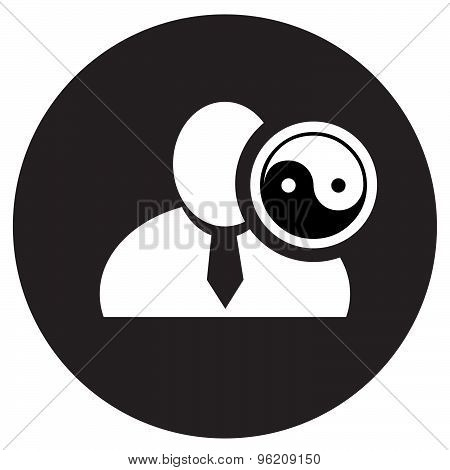 White Man Silhouette Icon With Yin Yang Symbol In Black Circle, Flat Design Icon For Forums Or Web