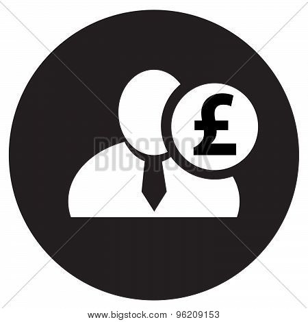 White Man Silhouette Icon With English Pound Symbol In Black Circle, Flat Design Icon For Forums Or