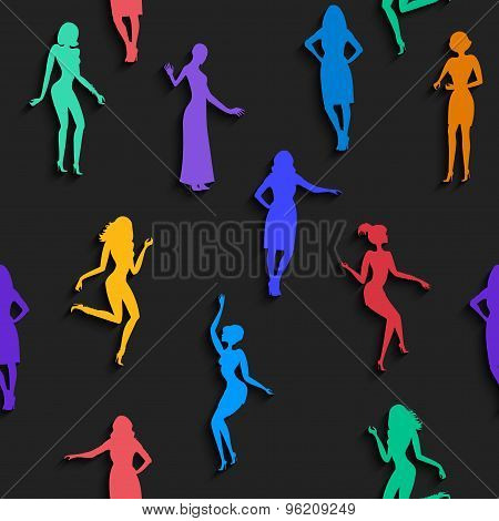 Seamless Pattern With Female Silhouettes