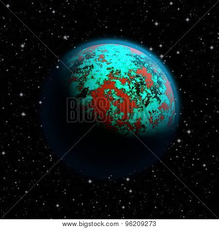 Abstract Planet Earth With Blue Atmosphere, Toxic Oceans And Red Flooded Continents. Full Hd Video A
