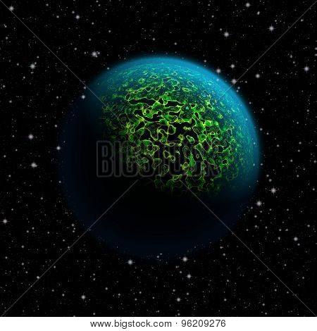 Abstract Planet With Blue Atmosphere And Green Metal Like Liquid Surface And Black Lakes. Full Hd Vi