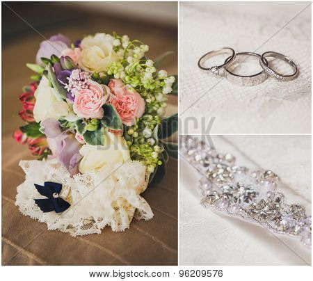 Collage from wedding photos, bridal accessories
