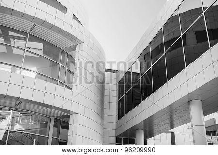 Part of modern building. Black and white photo