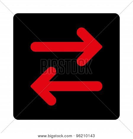 Flip Horizontal flat intensive red and black colors rounded button