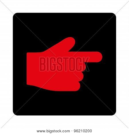 Index Finger flat intensive red and black colors rounded button