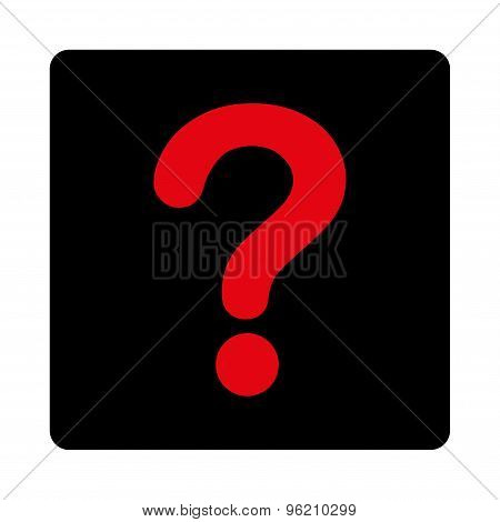 Question flat intensive red and black colors rounded button