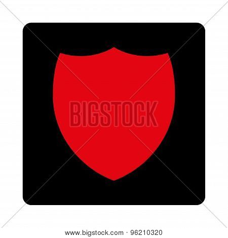 Shield flat intensive red and black colors rounded button