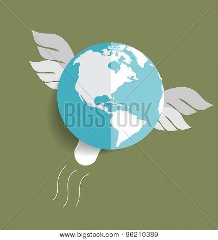 Flying globe. Vector illustration.