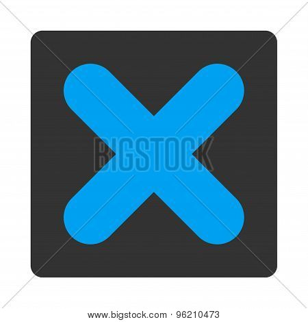 Cancel flat blue and gray colors rounded button