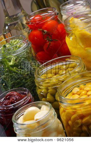 Jars With Various Preserved Food